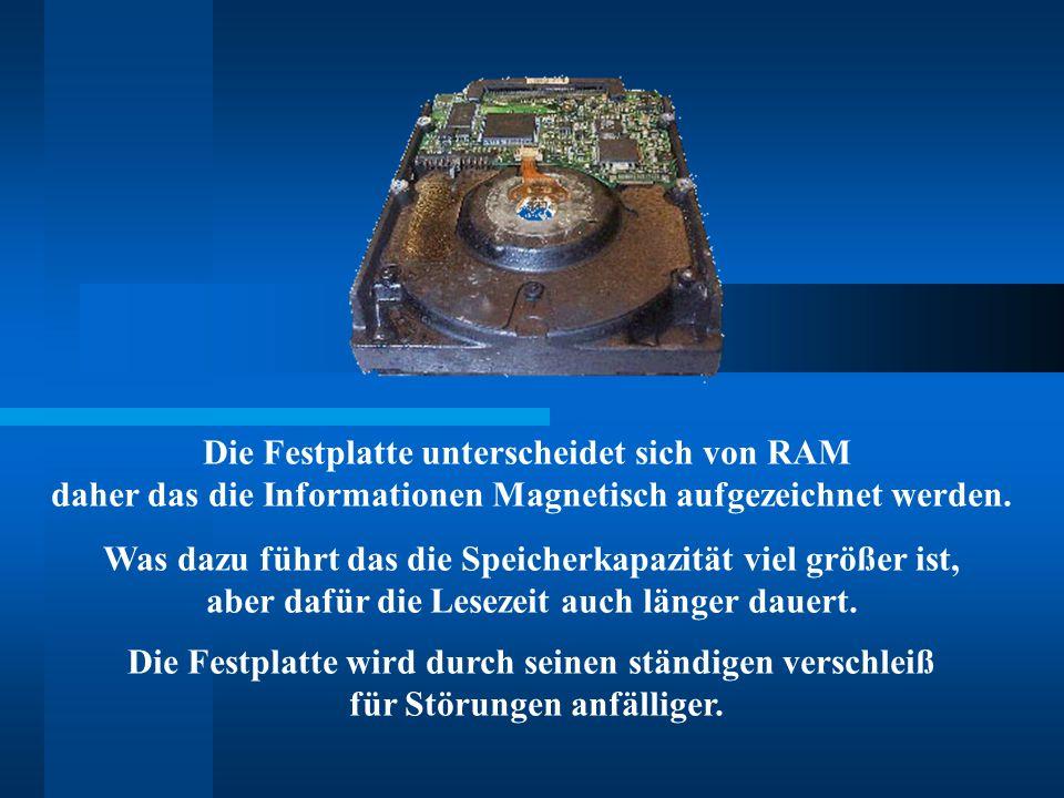 Die Festplatte unterscheidet sich von RAM