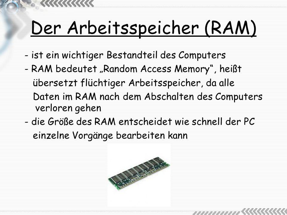 Der Arbeitsspeicher (RAM)