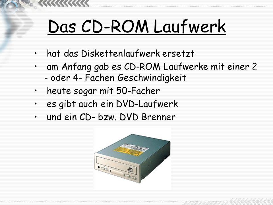 Das CD-ROM Laufwerk hat das Diskettenlaufwerk ersetzt