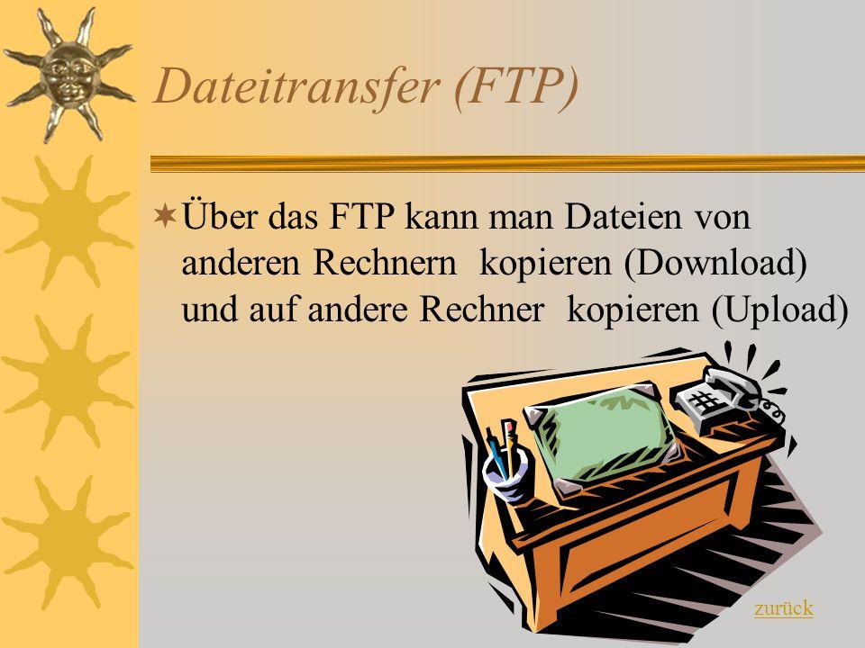 Dateitransfer (FTP) Über das FTP kann man Dateien von anderen Rechnern kopieren (Download) und auf andere Rechner kopieren (Upload)