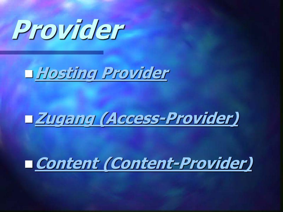 Provider Hosting Provider Zugang (Access-Provider)