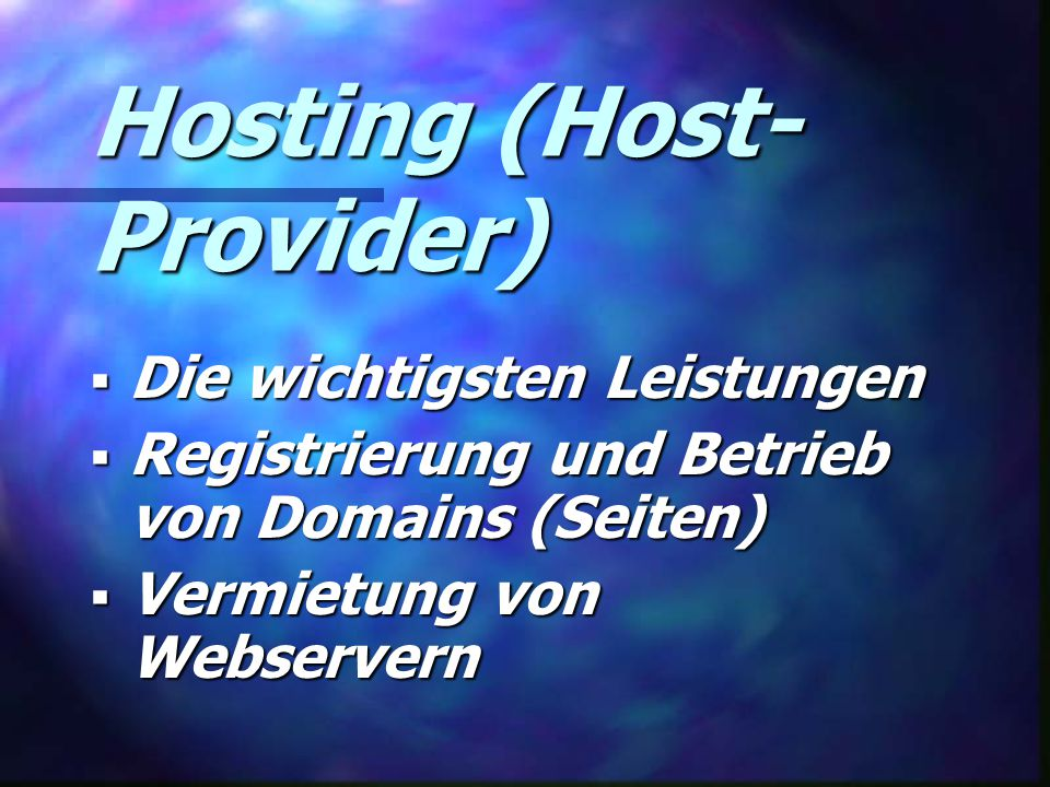 Hosting (Host-Provider)