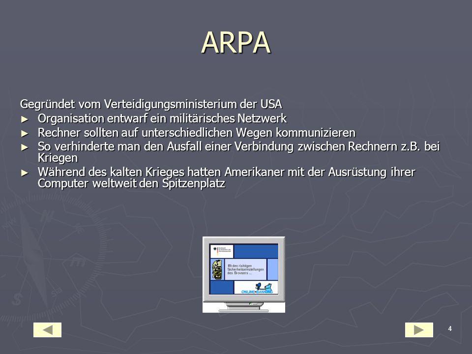 ARPA Gegründet vom Verteidigungsministerium der USA