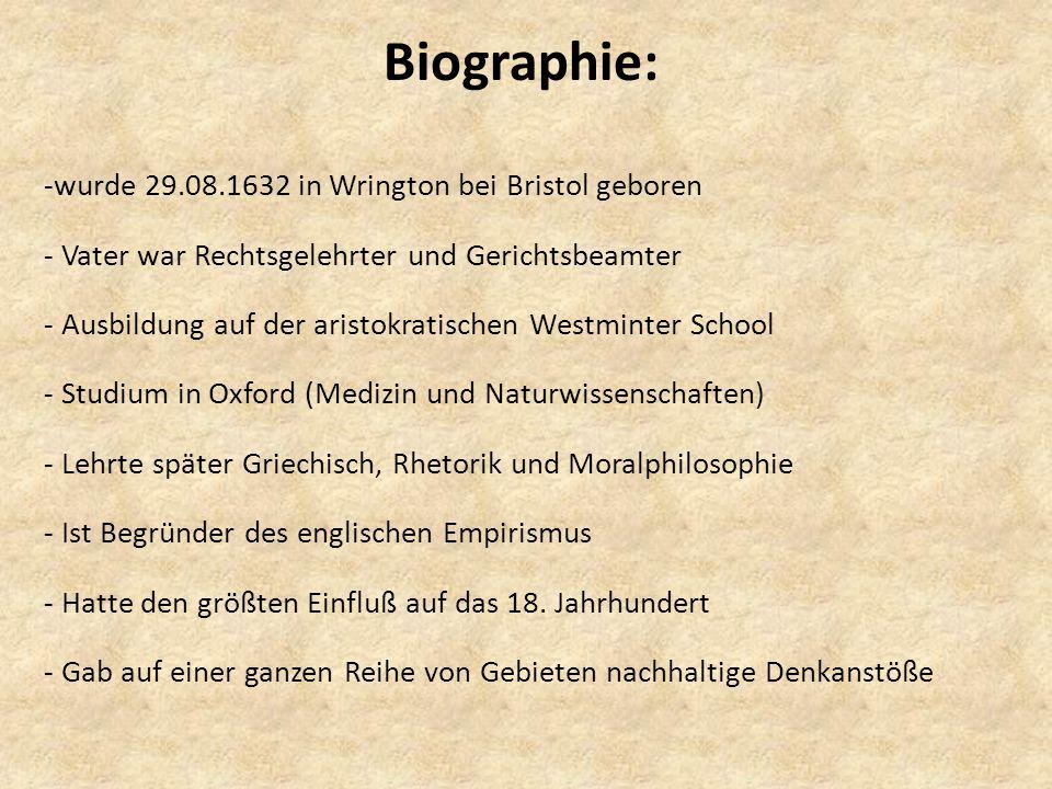 Biographie: wurde 29.08.1632 in Wrington bei Bristol geboren