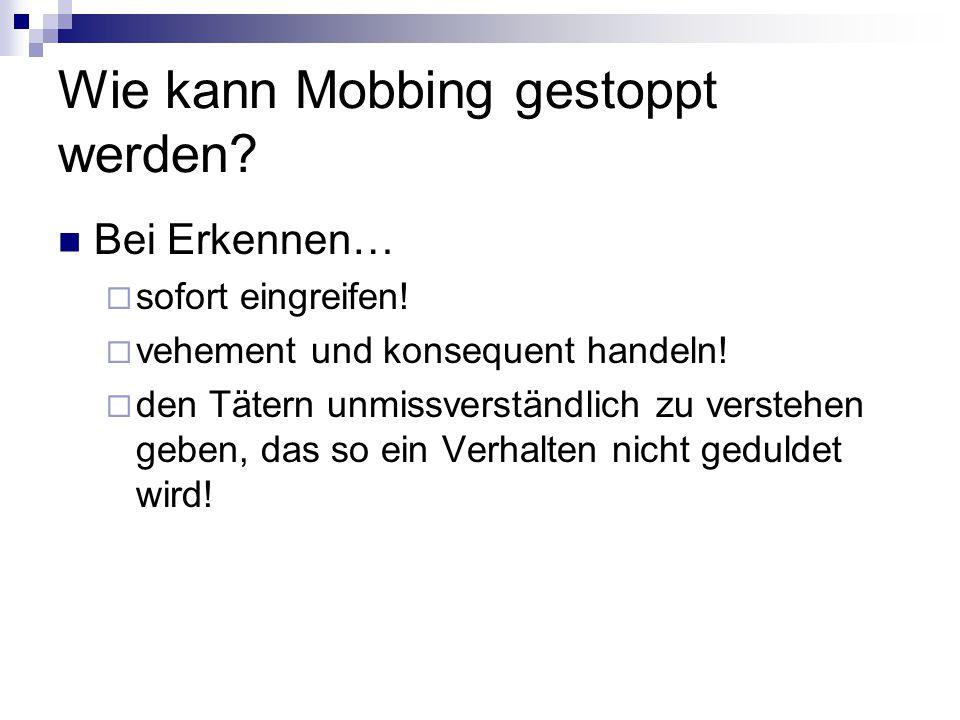 Wie kann Mobbing gestoppt werden