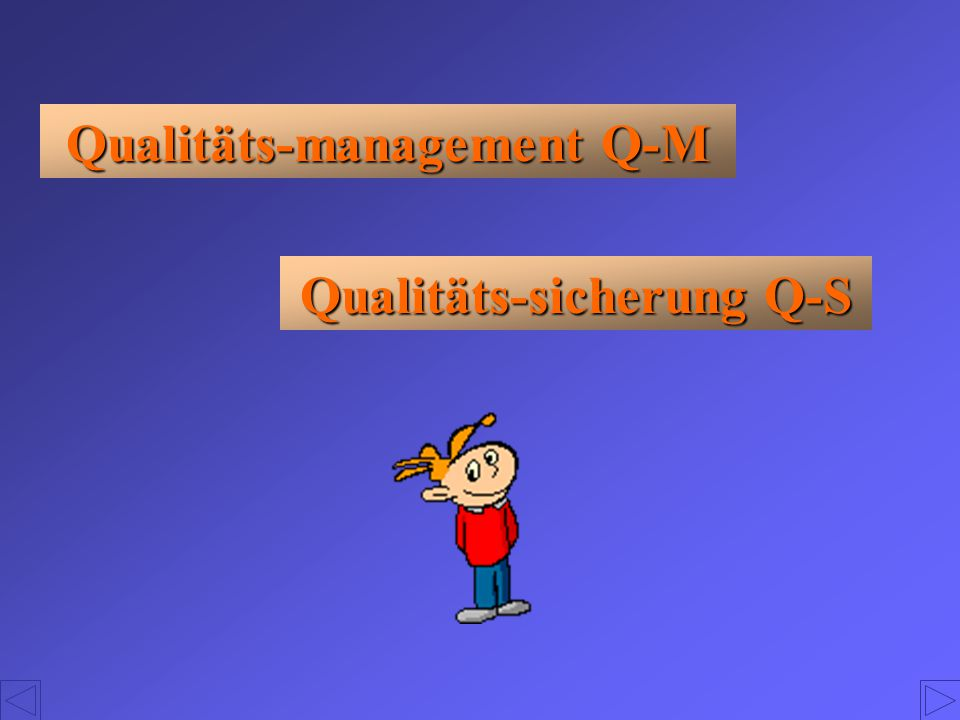 Qualitäts-management Q-M Qualitäts-sicherung Q-S