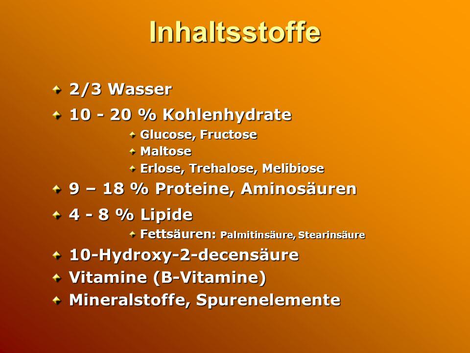 Inhaltsstoffe 2/3 Wasser 10 - 20 % Kohlenhydrate