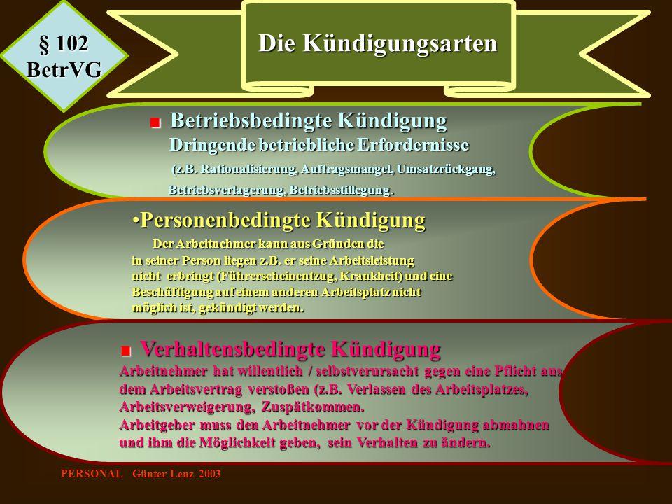 Die Kündigungsarten § 102 BetrVG Personenbedingte Kündigung
