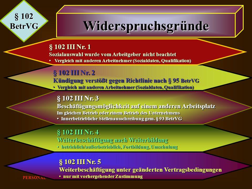 Widerspruchsgründe § 102 BetrVG § 102 III Nr. 1 § 102 III Nr. 2