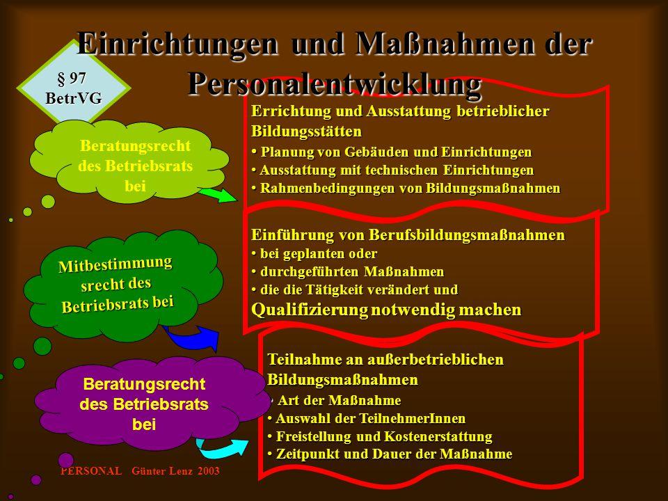 Einrichtungen und Maßnahmen der Personalentwicklung