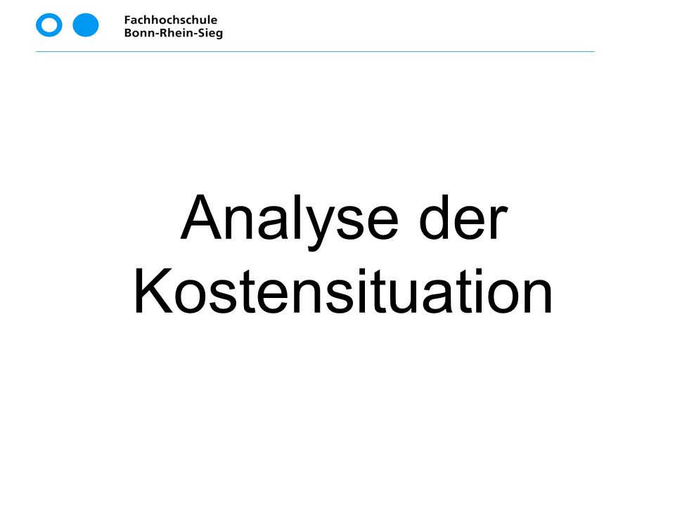 Analyse der Kostensituation