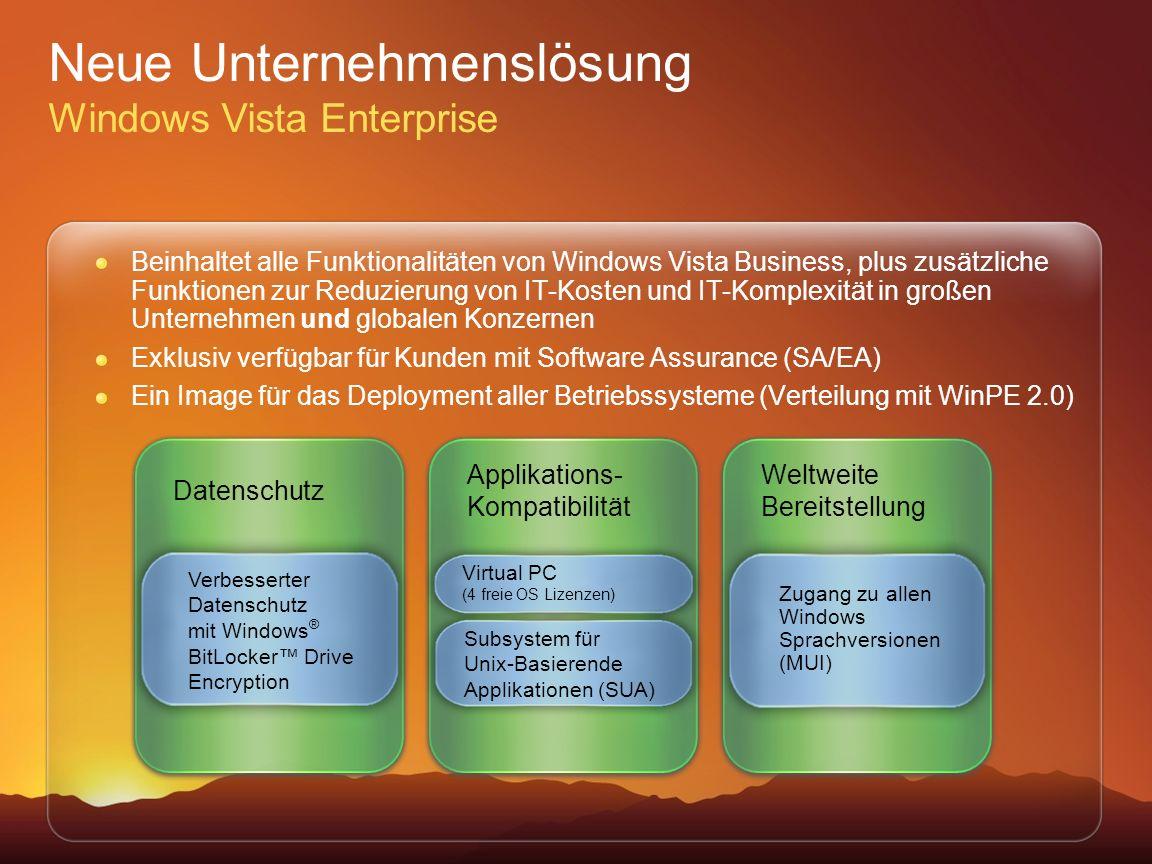 Neue Unternehmenslösung Windows Vista Enterprise
