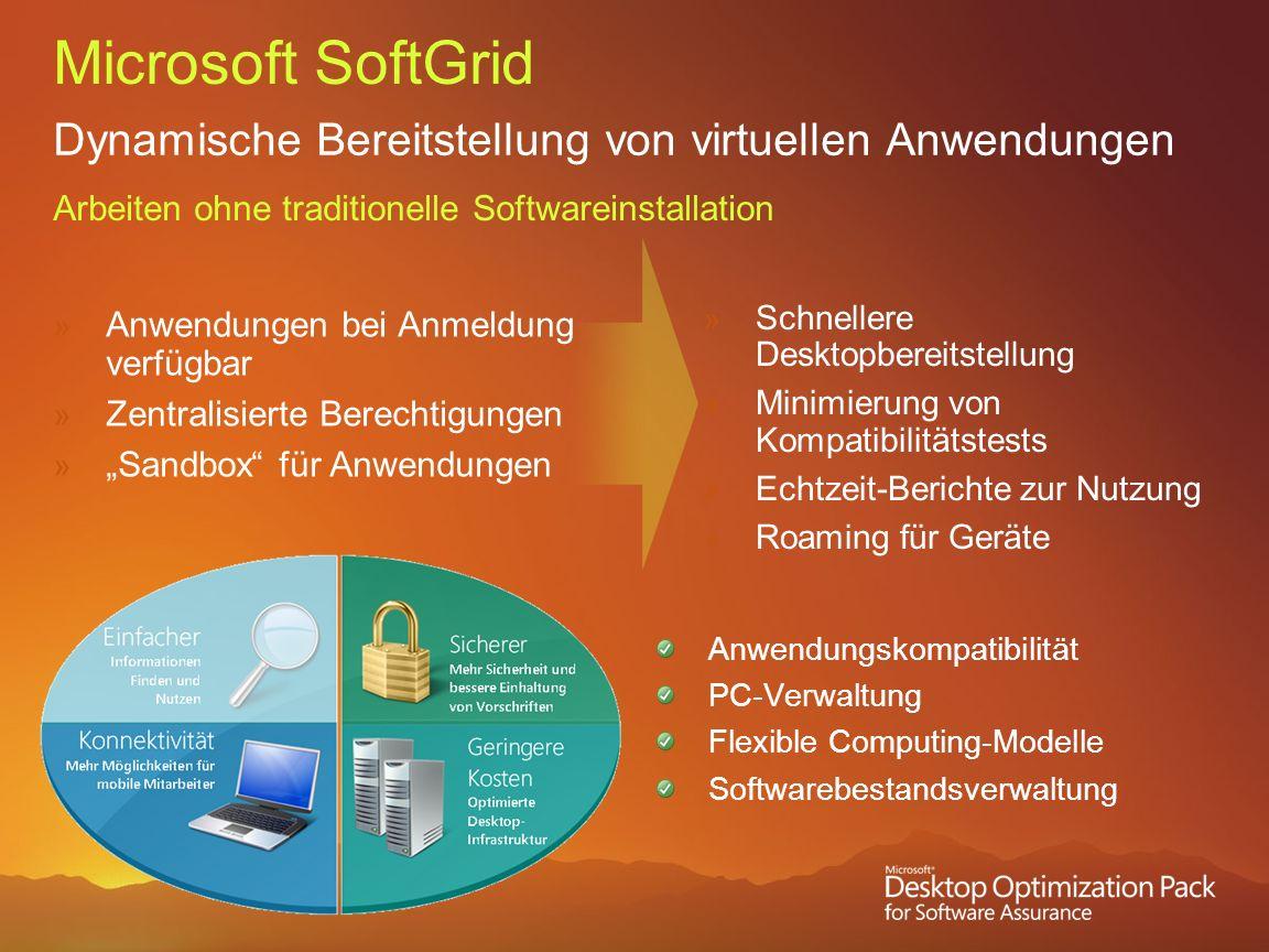 Microsoft SoftGrid Dynamische Bereitstellung von virtuellen Anwendungen. Arbeiten ohne traditionelle Softwareinstallation.