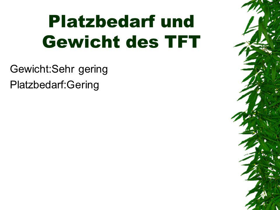 Platzbedarf und Gewicht des TFT