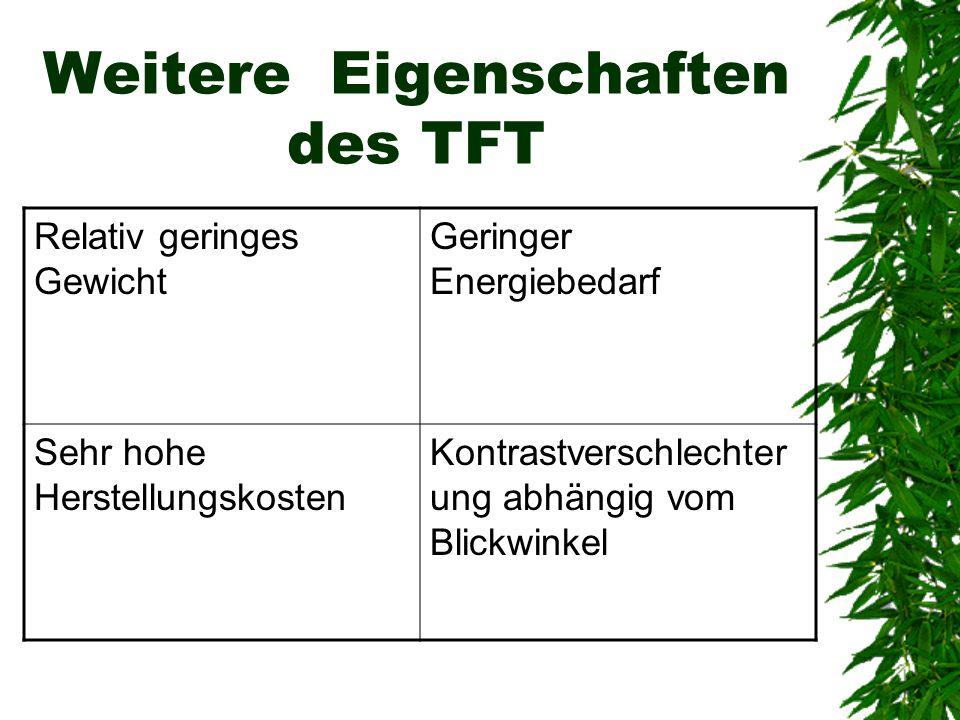 Weitere Eigenschaften des TFT