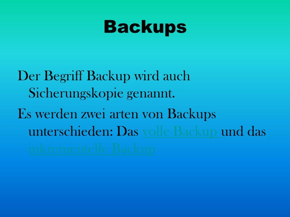 Backups Der Begriff Backup wird auch Sicherungskopie genannt.