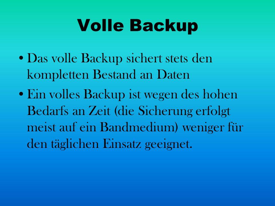 Volle Backup Das volle Backup sichert stets den kompletten Bestand an Daten.