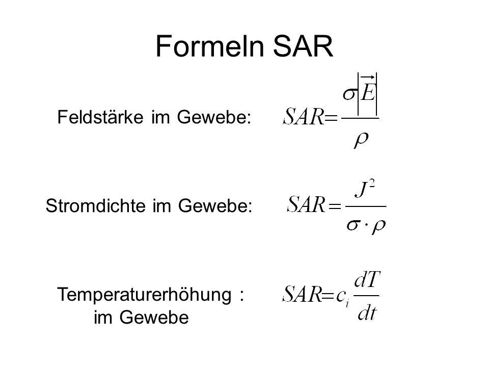 Formeln SAR Feldstärke im Gewebe: Stromdichte im Gewebe: