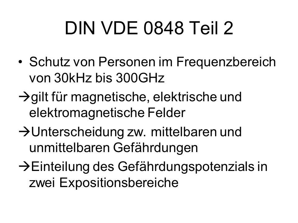 DIN VDE 0848 Teil 2 Schutz von Personen im Frequenzbereich von 30kHz bis 300GHz. gilt für magnetische, elektrische und elektromagnetische Felder.