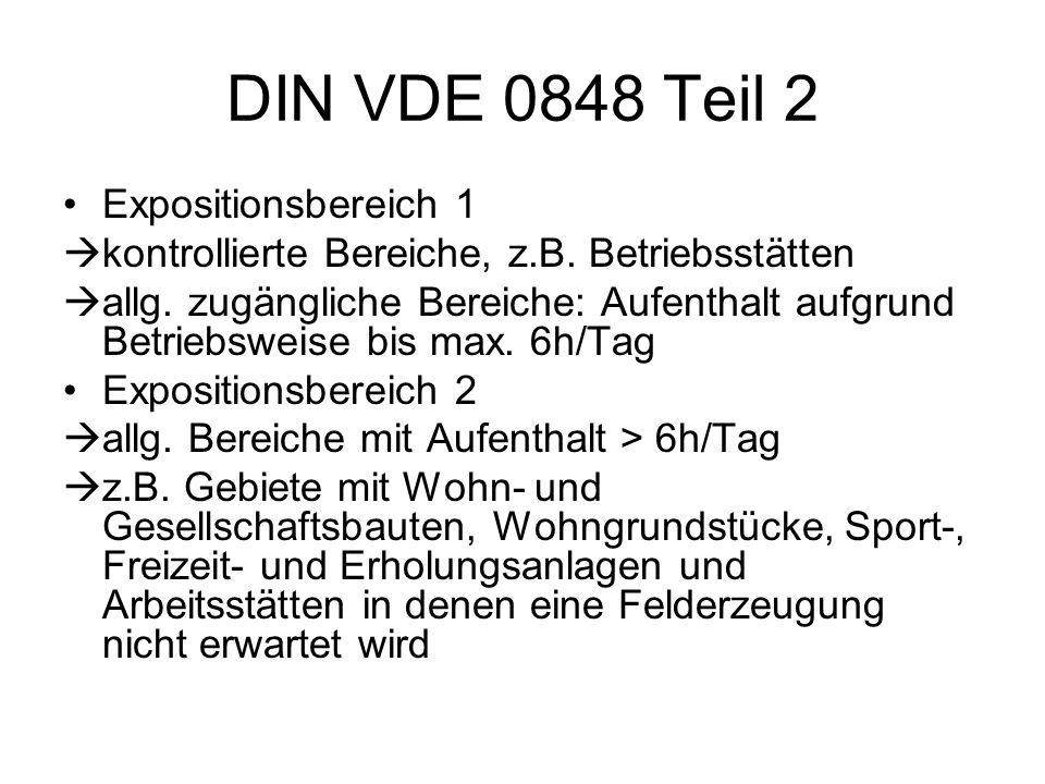 DIN VDE 0848 Teil 2 Expositionsbereich 1