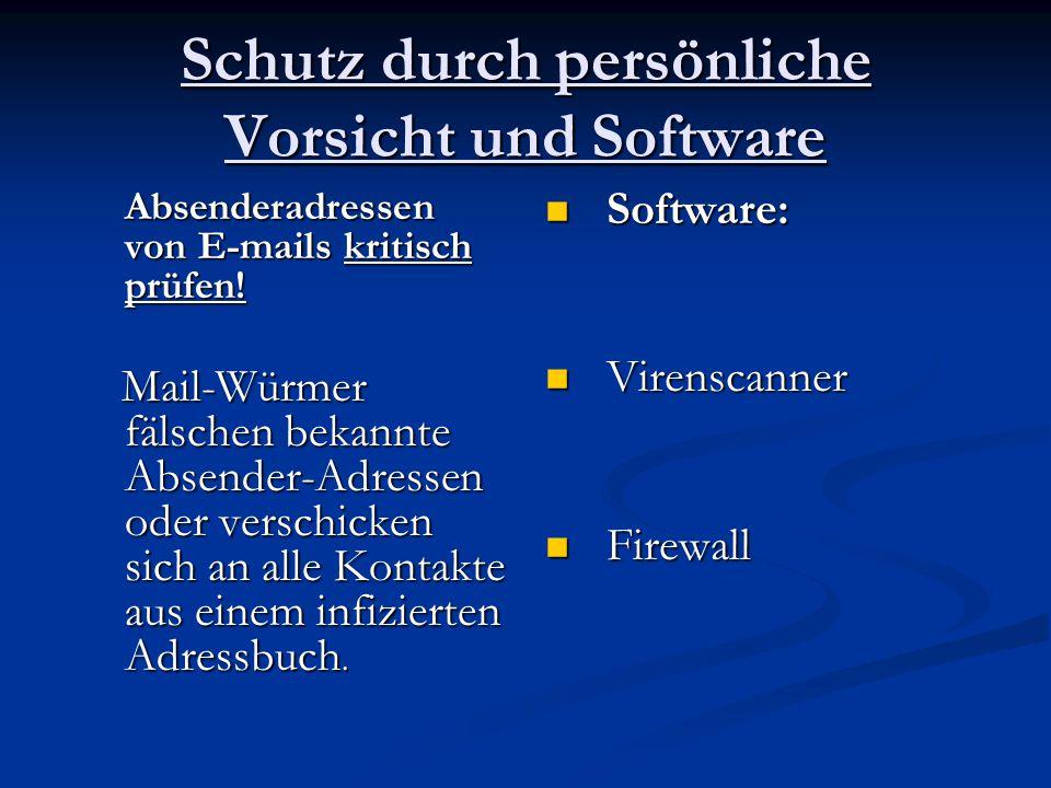 Schutz durch persönliche Vorsicht und Software