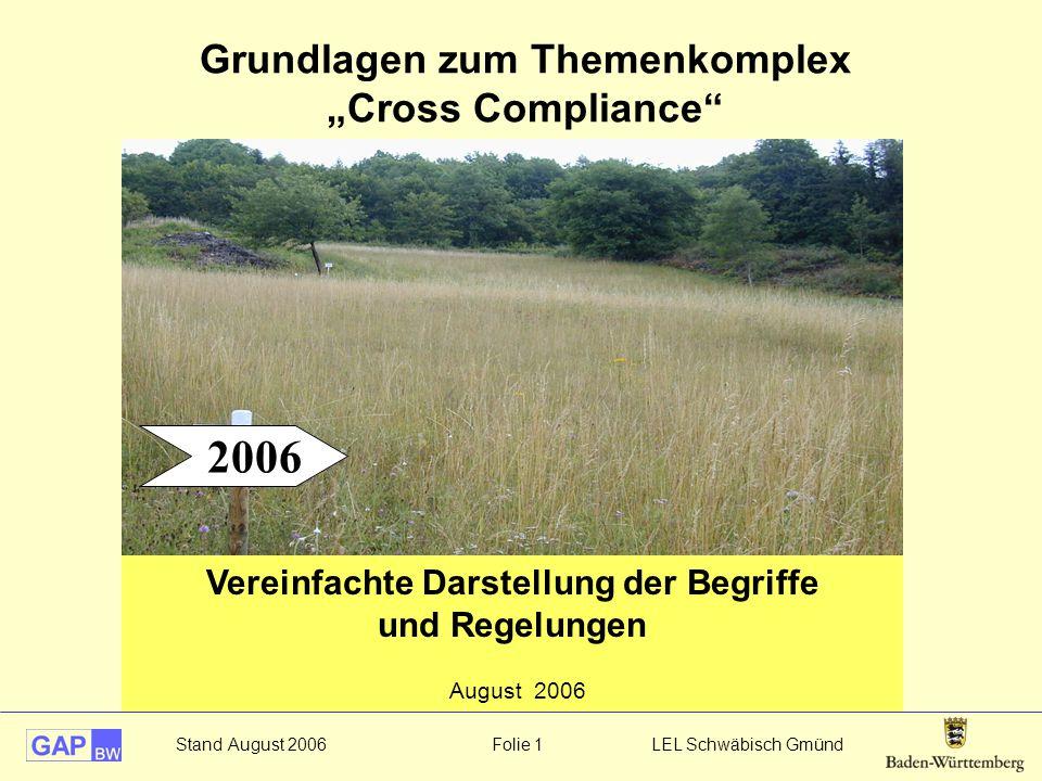"""Grundlagen zum Themenkomplex """"Cross Compliance"""