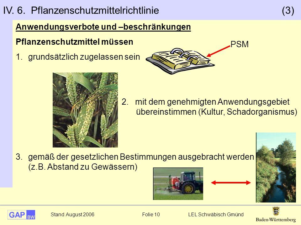 IV. 6. Pflanzenschutzmittelrichtlinie (3)