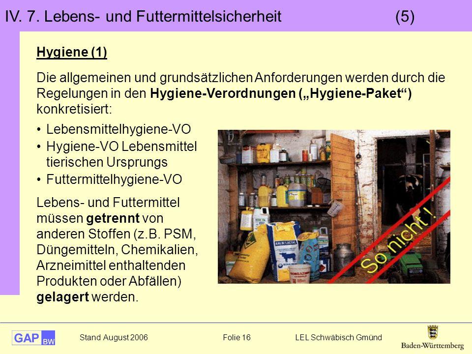 IV. 7. Lebens- und Futtermittelsicherheit (5)