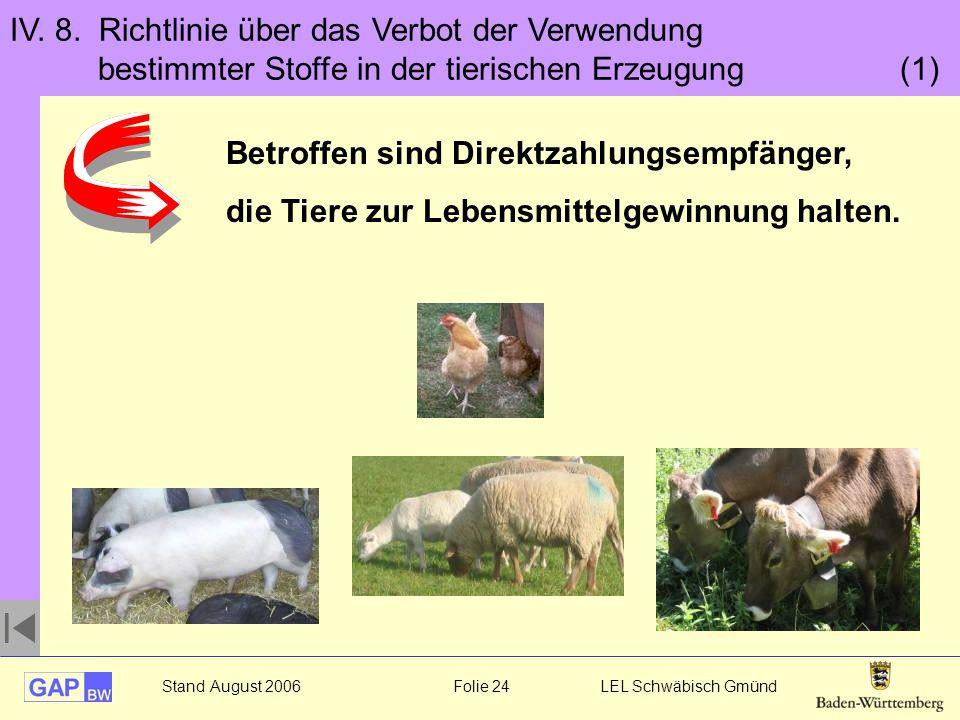 IV. 8. Richtlinie über das Verbot der Verwendung bestimmter Stoffe in der tierischen Erzeugung (1)