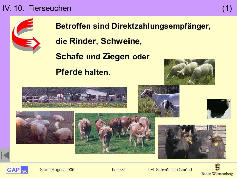 Schafe und Ziegen oder Pferde halten. IV. 10. Tierseuchen (1)