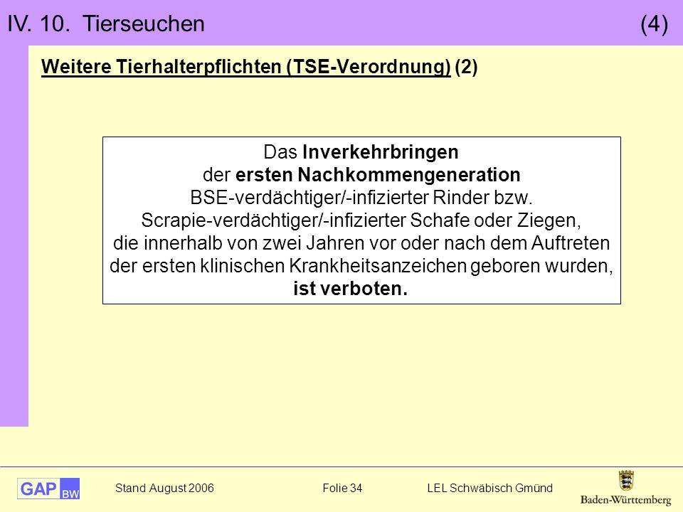 IV. 10. Tierseuchen (4) Weitere Tierhalterpflichten (TSE-Verordnung) (2)