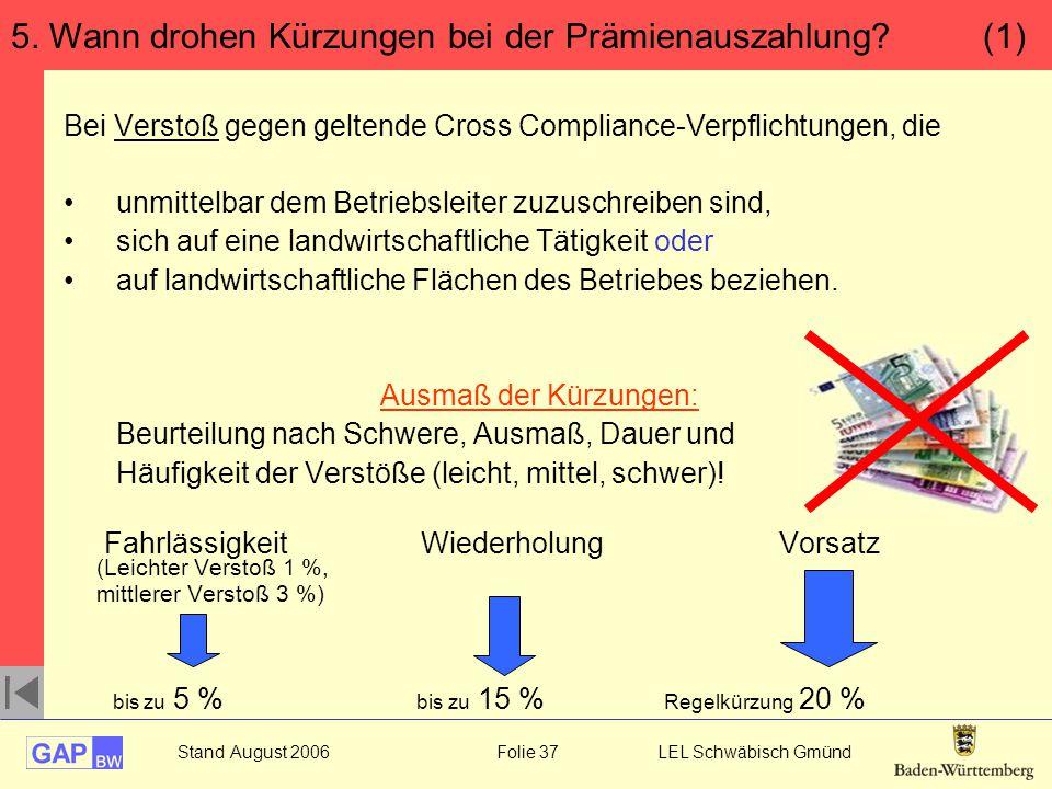 5. Wann drohen Kürzungen bei der Prämienauszahlung (1)