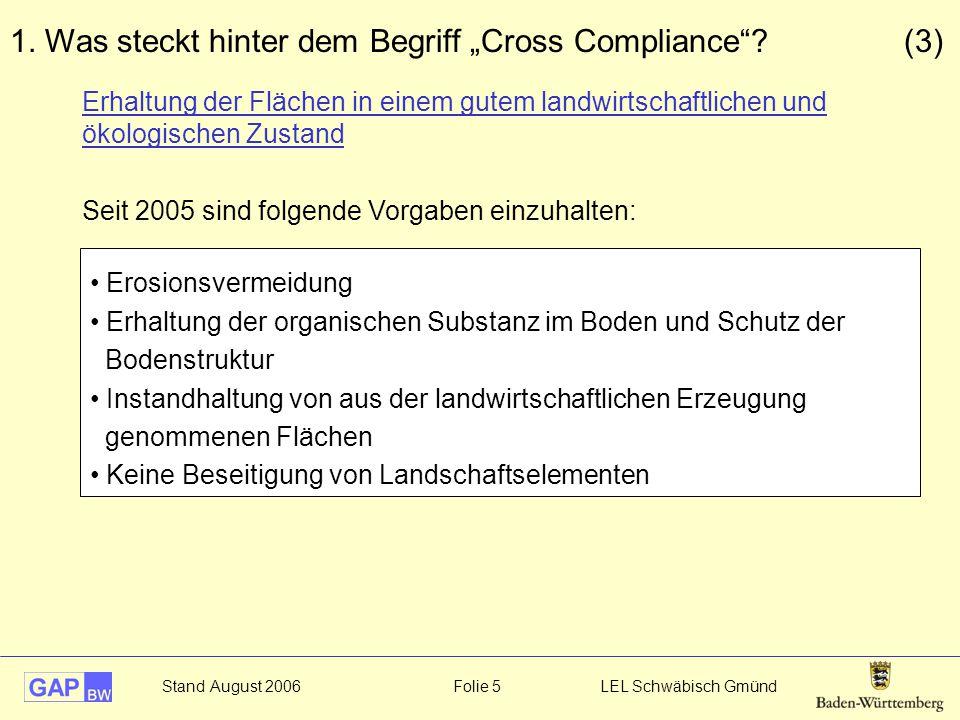 """1. Was steckt hinter dem Begriff """"Cross Compliance (3)"""