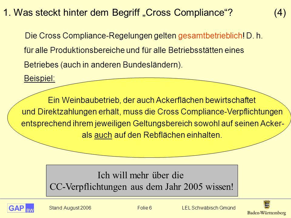 """1. Was steckt hinter dem Begriff """"Cross Compliance (4)"""