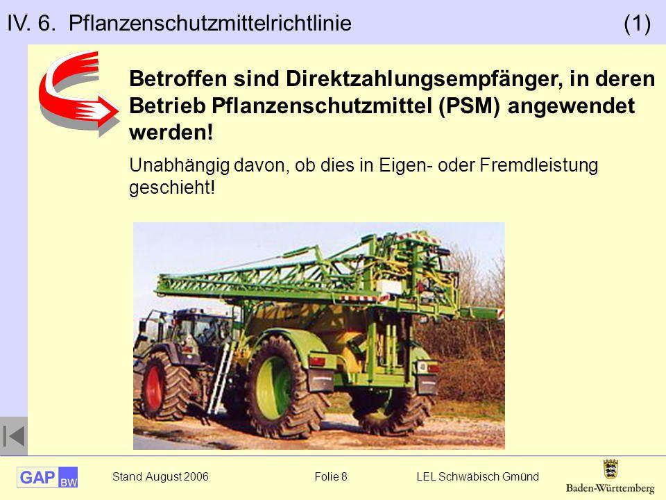IV. 6. Pflanzenschutzmittelrichtlinie (1)