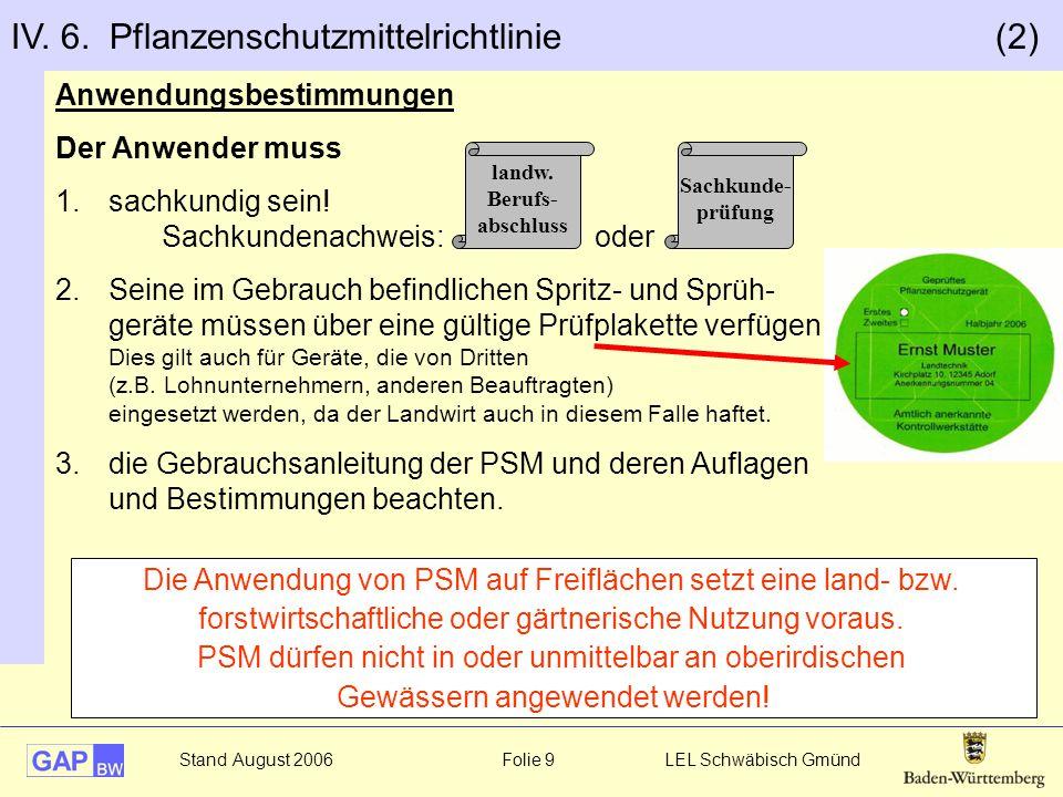 IV. 6. Pflanzenschutzmittelrichtlinie (2)