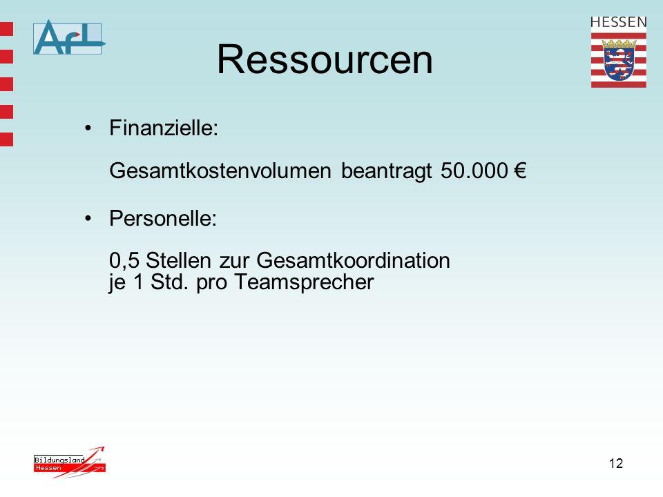 Ressourcen Finanzielle: Gesamtkostenvolumen beantragt 50.000 €