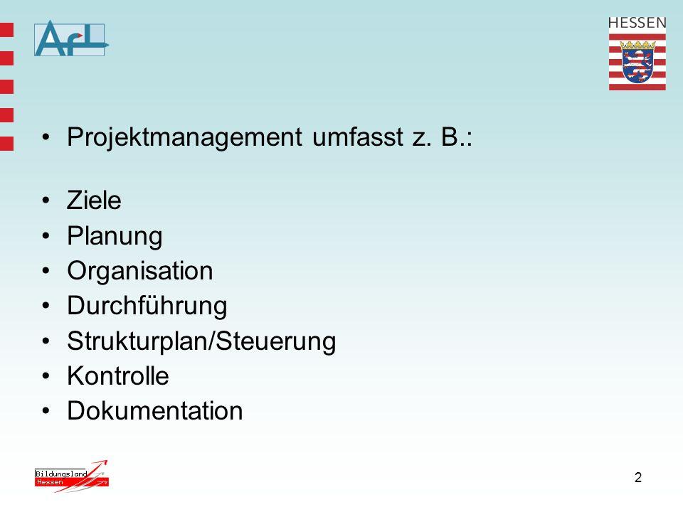 Projektmanagement umfasst z. B.: