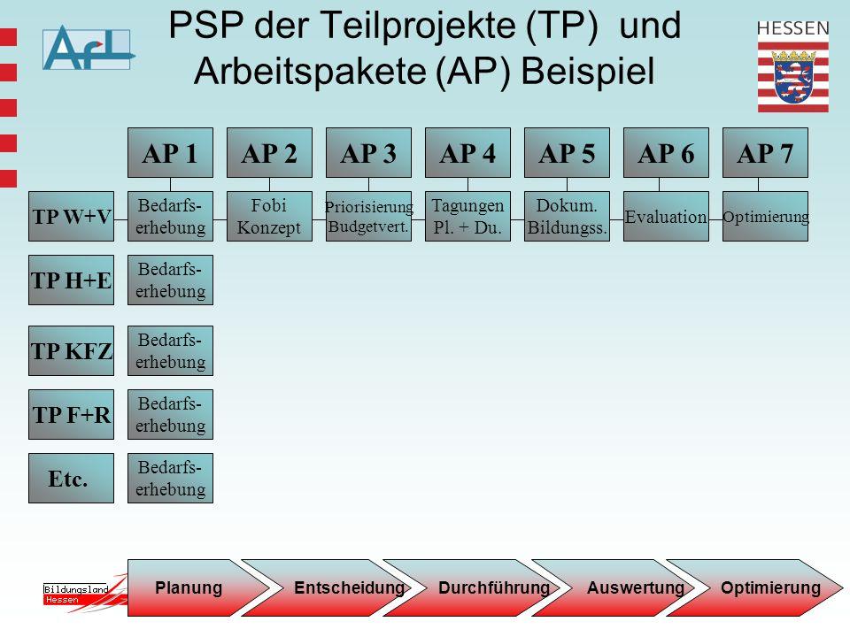 PSP der Teilprojekte (TP) und Arbeitspakete (AP) Beispiel