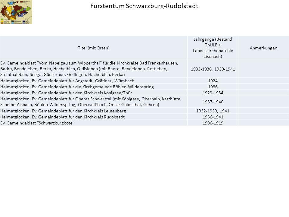 Fürstentum Schwarzburg-Rudolstadt