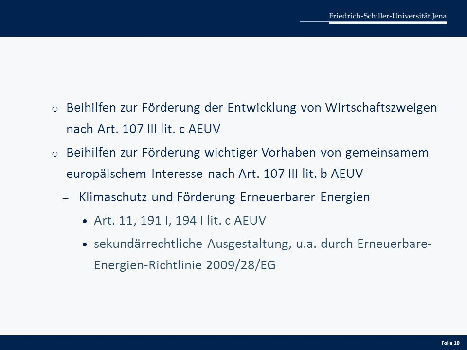 Beihilfen zur Förderung der Entwicklung von Wirtschaftszweigen nach Art. 107 III lit. c AEUV