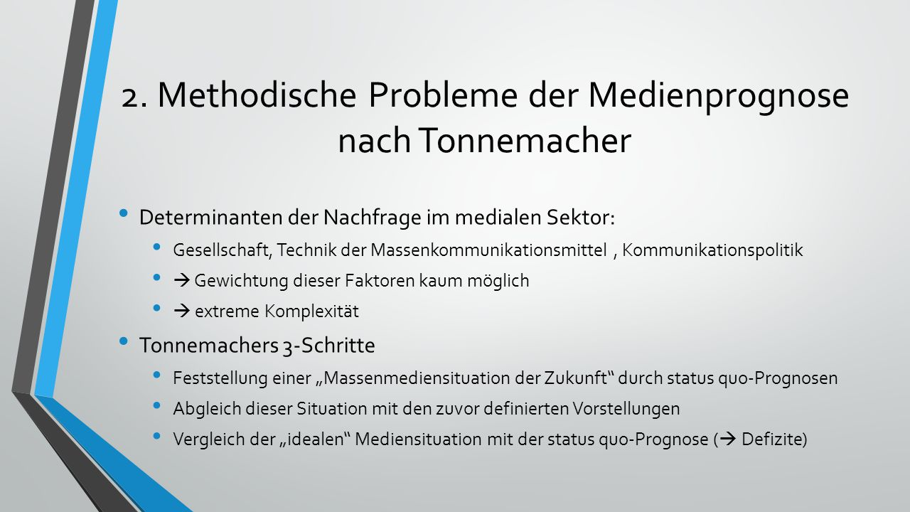 2. Methodische Probleme der Medienprognose nach Tonnemacher
