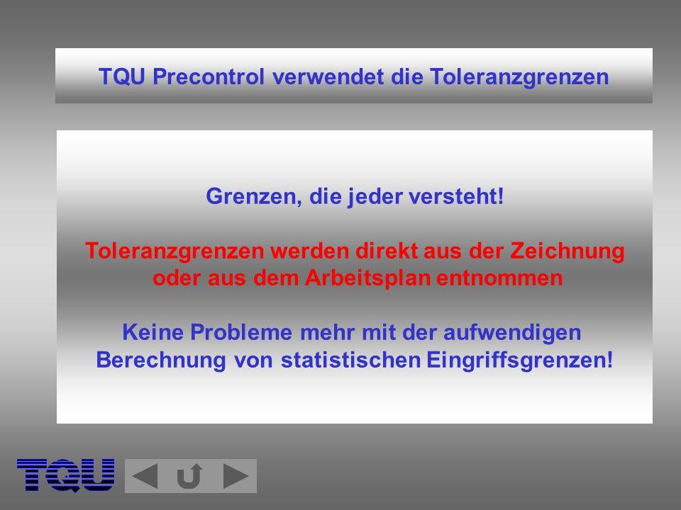 TQU Precontrol verwendet die Toleranzgrenzen