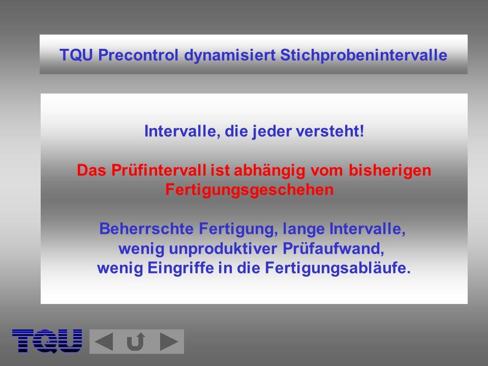 TQU Precontrol dynamisiert Stichprobenintervalle