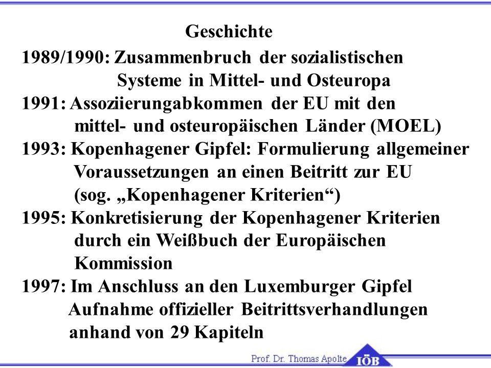 Geschichte 1989/1990: Zusammenbruch der sozialistischen. Systeme in Mittel- und Osteuropa. 1991: Assoziierungabkommen der EU mit den.