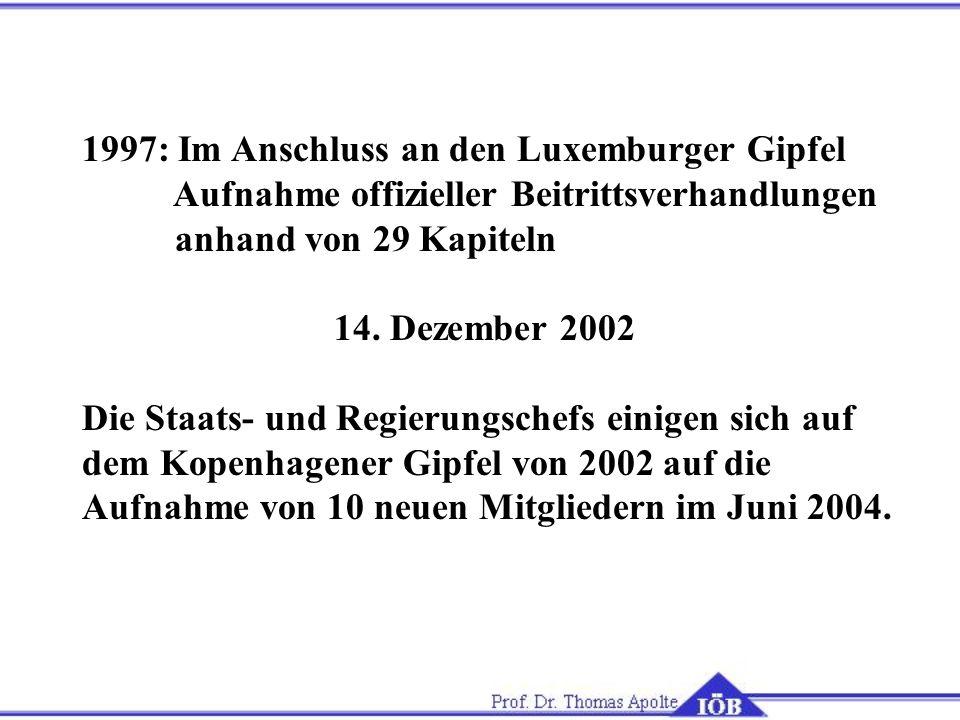 1997: Im Anschluss an den Luxemburger Gipfel