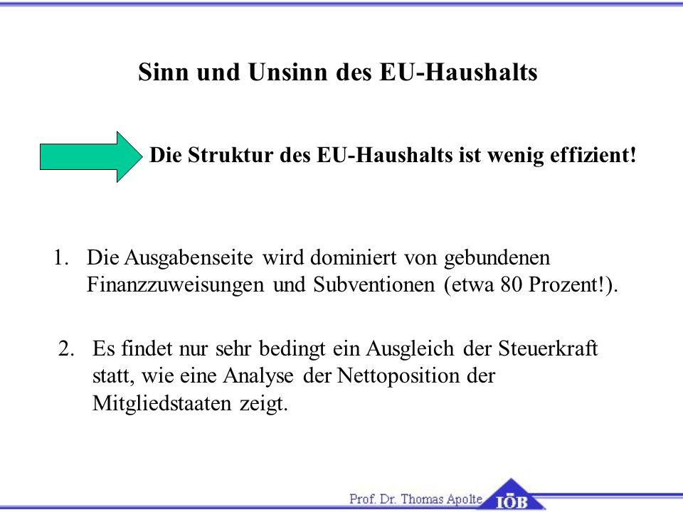 Sinn und Unsinn des EU-Haushalts