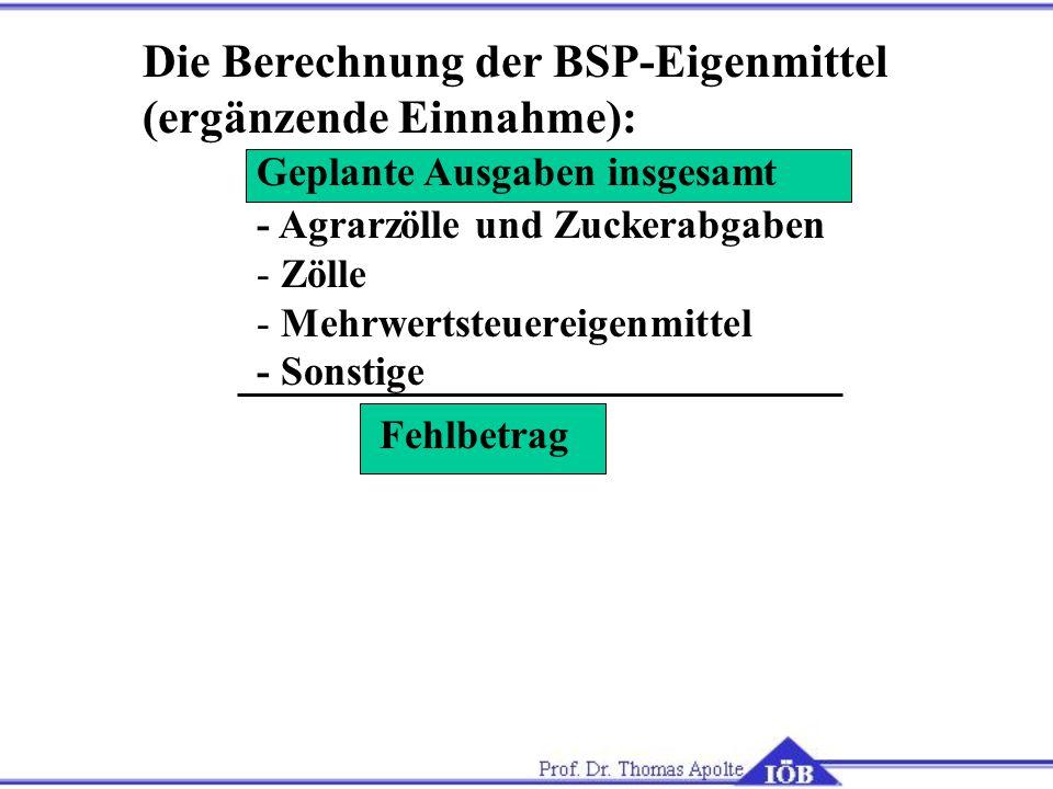 Die Berechnung der BSP-Eigenmittel (ergänzende Einnahme):