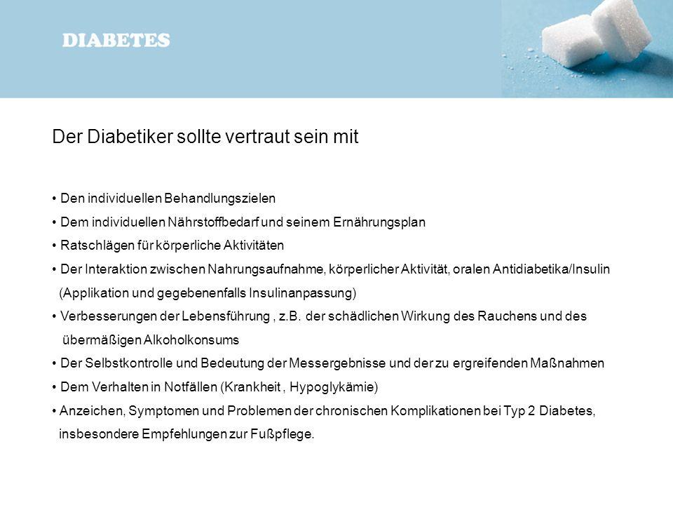 Der Diabetiker sollte vertraut sein mit