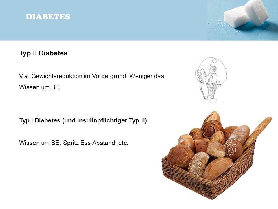 Typ II Diabetes V.a. Gewichtsreduktion im Vordergrund. Weniger das Wissen um BE. Typ I Diabetes (und Insulinpflichtiger Typ II)